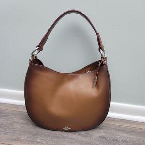 Coach Mae burnished leather Nomad hobo bag